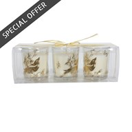 Wax Filled Gold Glass Candle 7cm Pack of 3