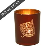 Leaf Design Tealight Holder Red 7.5cm