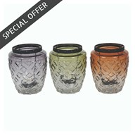 Etched Tealight Holder 13cm 3 Assorted