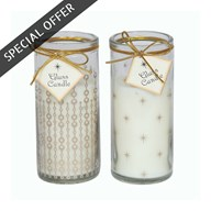 Glass Wax Filled Candle 14cm 2 Assorted