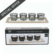4 Tea-Light Holder On Tray Gift Set