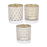 White/Gold Tea Light Holder 8cm 3 Assorted