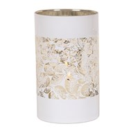 White/Gold Leaves Pillar Holder 20cm