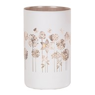 White and Gold Floral Pillar Candle Holder  20cm