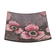 Pink Floral Square Plate 16cm