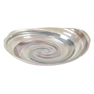 Swirl Grey/Light Blue Glass Bowl 32cm