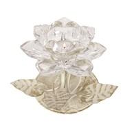 Clear Crystal Flower Tea Light Holder 12cm