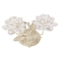 Clear Crystal Flower Double Tea Light Holder 15cm