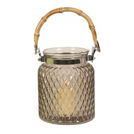 Bamboo Handled Glass Lantern Grey 17cm