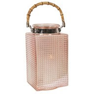 Pearlised Glass Pink Square Lantern 34cm