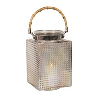 Handled Pearlised Brown Glass Square Lantern 28cm