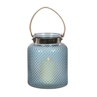 Bamboo Handled Pearlised Blue Lantern 22cm