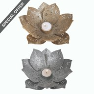 Lotus Tea Lights Holder 20cm 2 Assorted