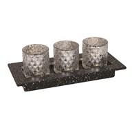 LED Tea Light Gift Set in Silver 30x13cm