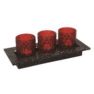 LED Tea Light Gift Set in Red 30x13cm