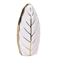 Gold & White Leaf Design Vase 35cm