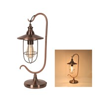 Copper Caged Desk Lamp with Filament Bulb 49cm