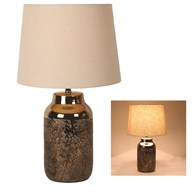 Bronze Table Lamp With Cream Shade 47cm