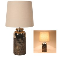 Bronze Table Lamp With Cream Shade 57cm