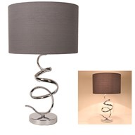 Silver Spiral Table Lamp 59cm