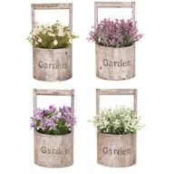 Spring Floral Bucket 24cm 4 Assorted