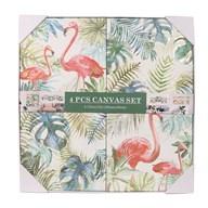 Set of 4 Flamingos Canvas 30cm