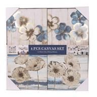 Set of 4 Blue Floral Canvas 30cm