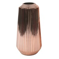 Rose Gold Ribbed Vase 30cm
