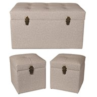 Set of 3 Ottoman Light Grey 75x40cm