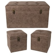 Set of 3 Ottoman Brown 75x40cm