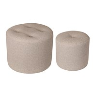 Set of 2 Light Grey Stools 44x34cm