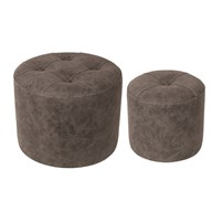 Set of 2 Grey Stools 44x34cm