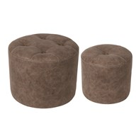 Set of 2 Brown Stools 44x34cm
