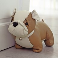 Brown Leather Look Dog Doorstop 20cm