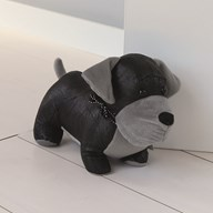 Black & Grey Dog Doorstop 21cm