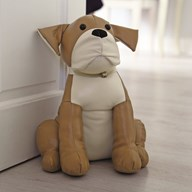 Brown Leather Look Dog Doorstop 30cm