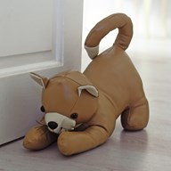 Brown Leather Look Cat Doorstop 24cm