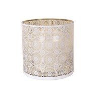 White Spiral Pillar Holder with Gold Inner 25cm