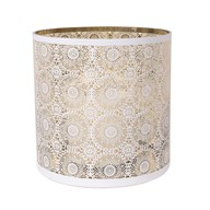 White Spiral Pillar Holder with Gold Inner 30cm
