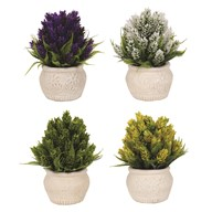 Flowers In Embossed Pots 19cm 4 Assorted