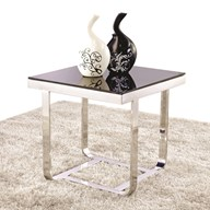 Square Chrome and Black Glass Lamp Table 50cm