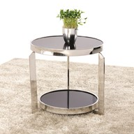 Round Chrome & Black Glass Lamp Table 48cm