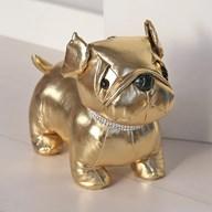 Gold Pug Doorstop with Diamante Collar 23cm