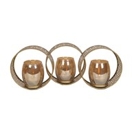 Gold Triple Circle Tealight Holder 46.5cm