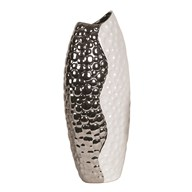 Hammered Effect White & Silver Vase 52.5cm