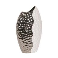 Hammered Effect White & Silver Vase 40cm