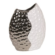 Hammered Effect White & Silver Vase 30cm