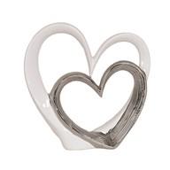White & Silver Heart Decor 39cm
