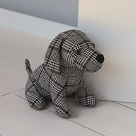 Checked Dog Doorstop 22cm