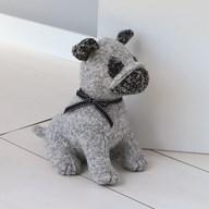 Grey Dog Doorstop 25cm